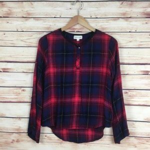 Anthropologie Cloth & Stone Plaid Popover Top XS